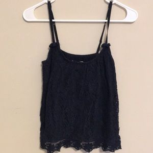 Navy lace flowy top